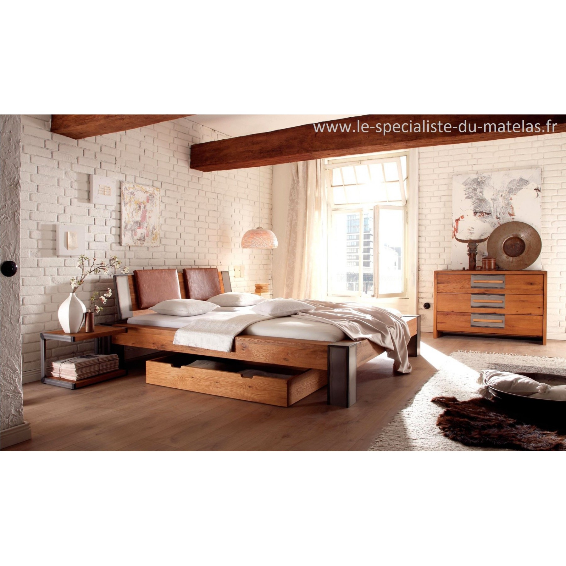 lit hasena oak line wild iron d couvrir au le sp cialiste du matelas. Black Bedroom Furniture Sets. Home Design Ideas