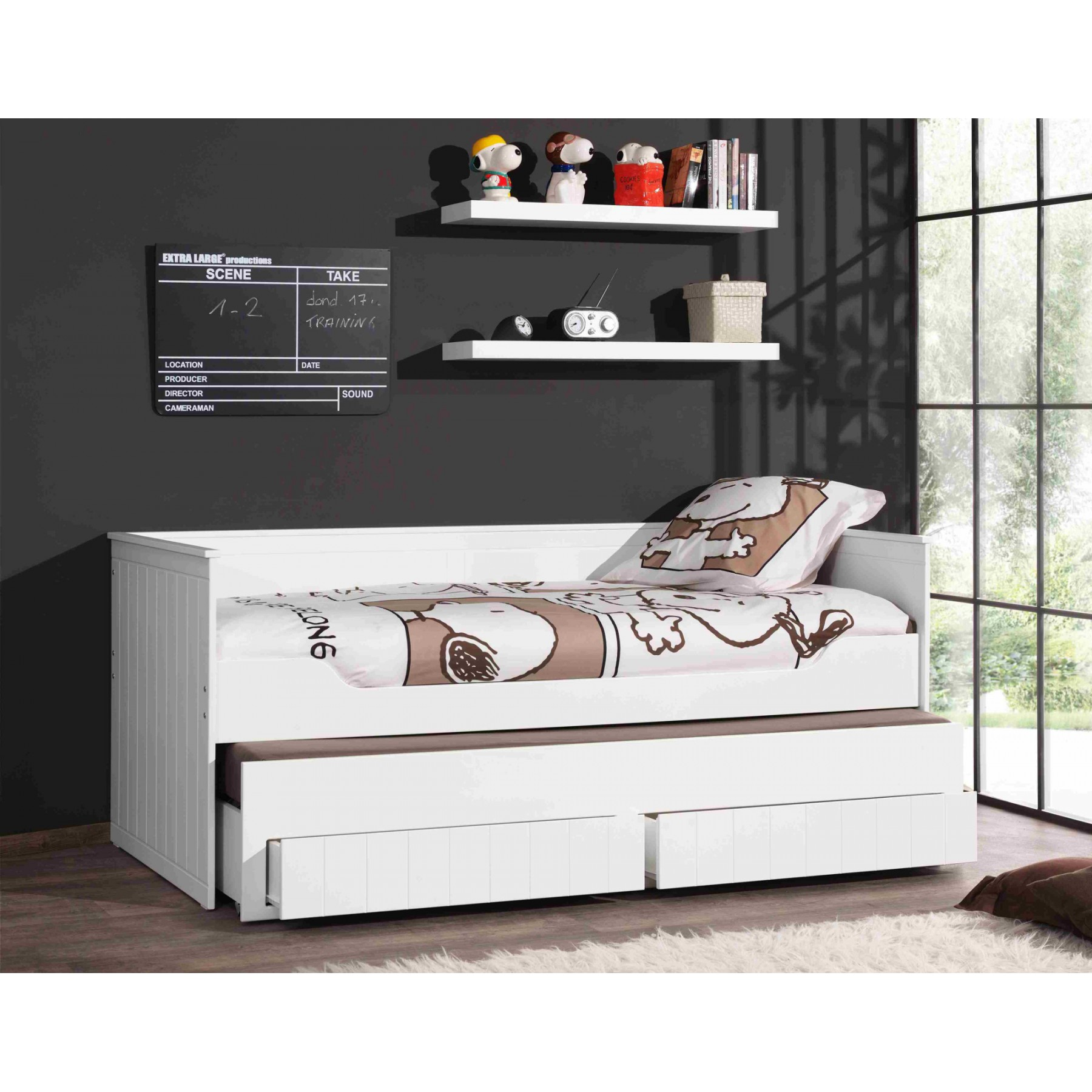 matelas lit gigogne lit gigogne enfant milo blanc. Black Bedroom Furniture Sets. Home Design Ideas