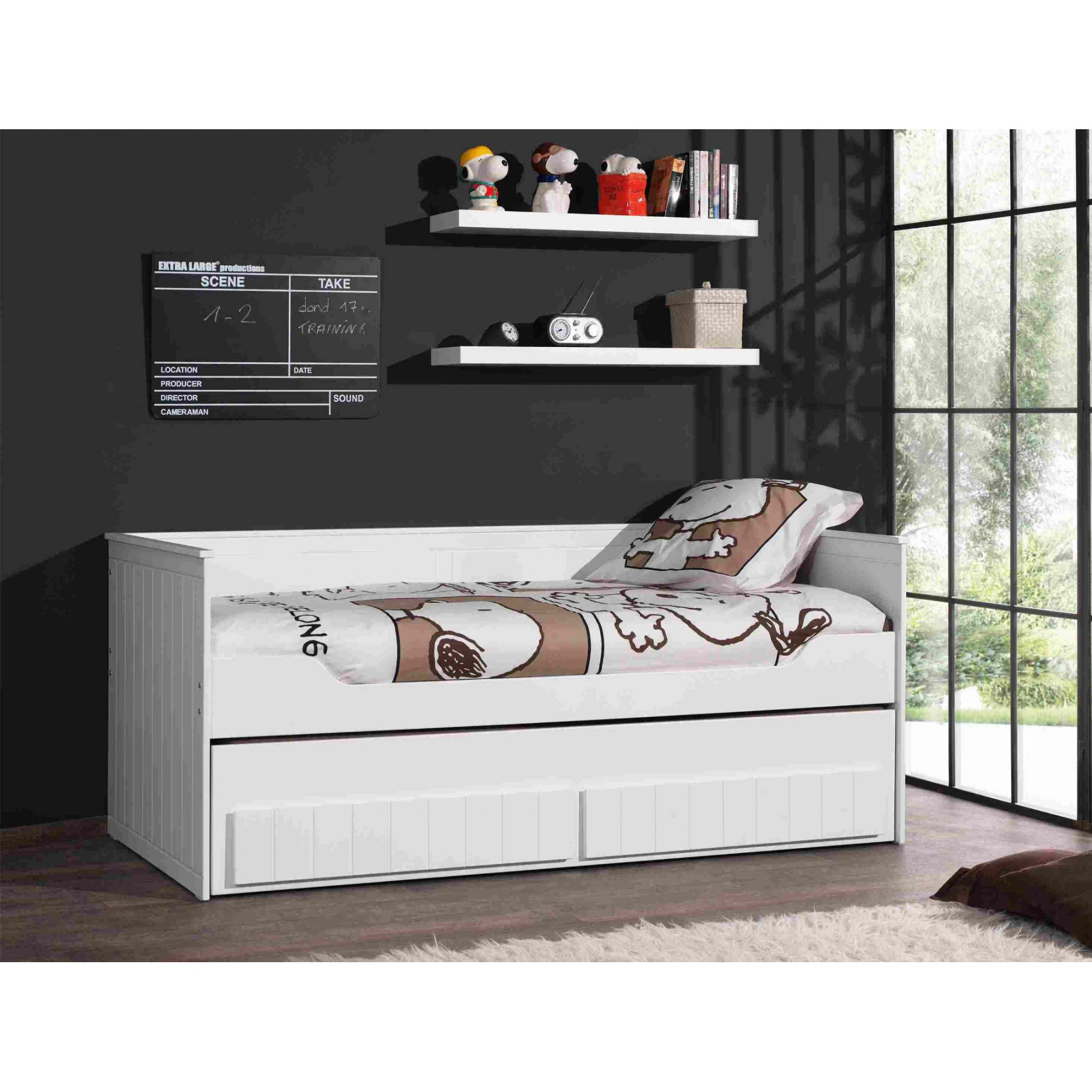 lit gigogne laqu blanc en mdf et pin massif avec tiroirs. Black Bedroom Furniture Sets. Home Design Ideas