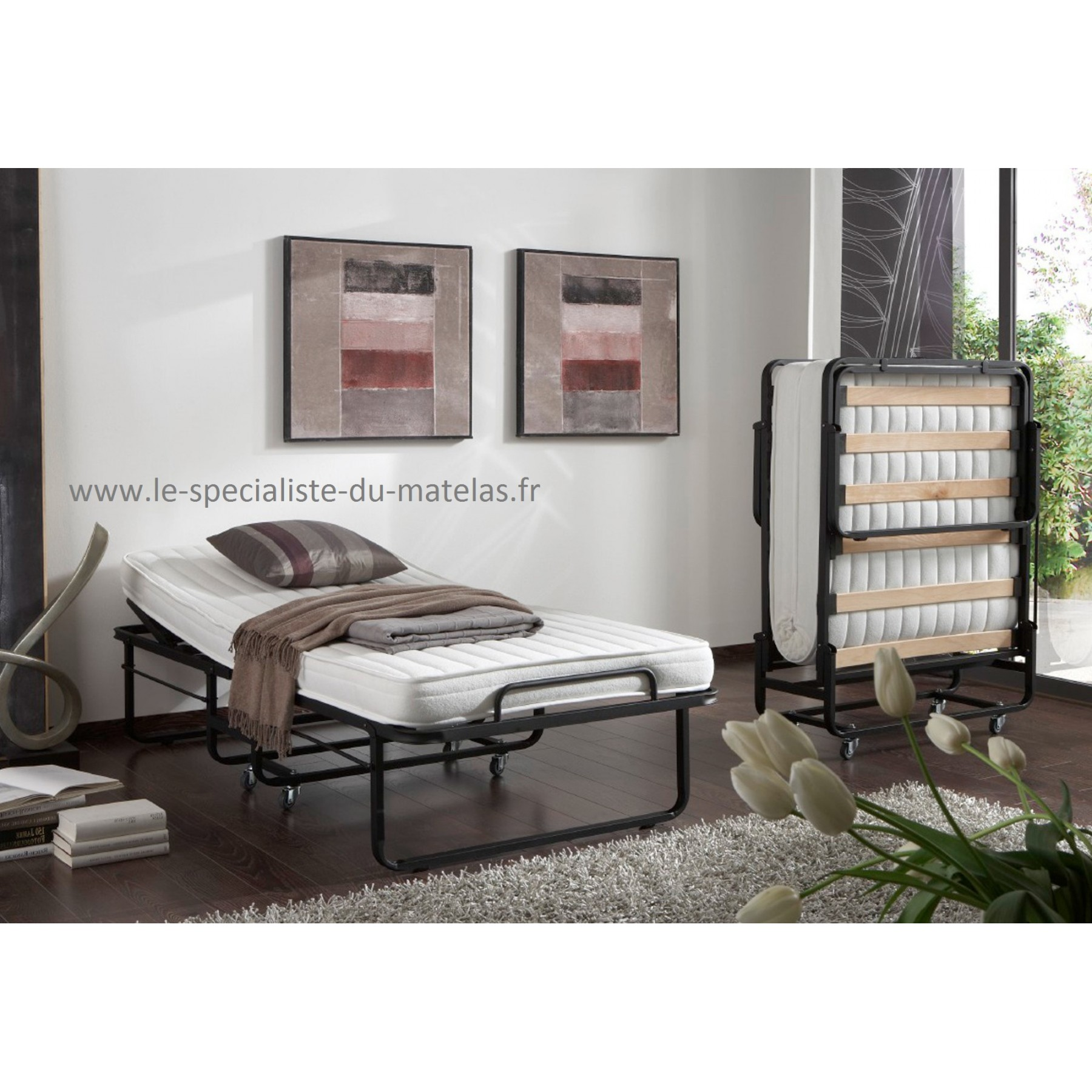 lit pliant lattes avec t te relevable d couvrir au le sp cialiste du matelas. Black Bedroom Furniture Sets. Home Design Ideas