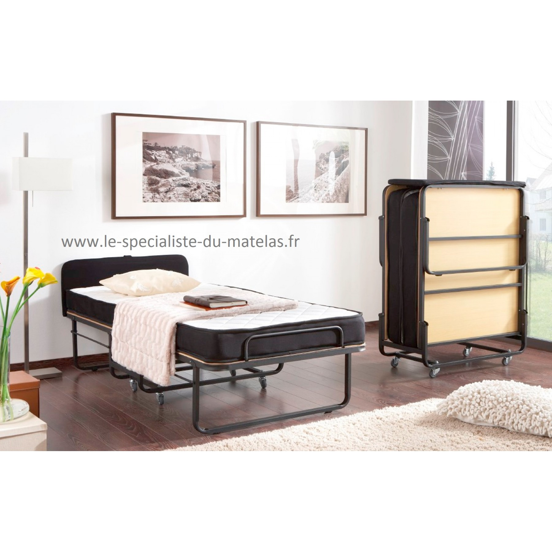 lit pliant avec t te de lit d couvrir au le sp cialiste. Black Bedroom Furniture Sets. Home Design Ideas