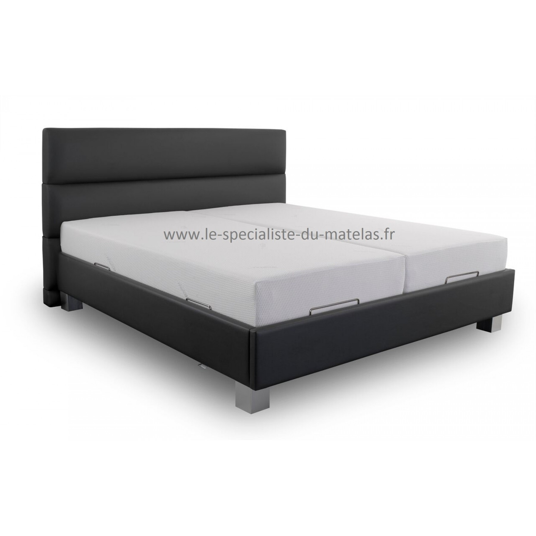 sommier lit cadre de lit los angeles en simili cuir capitonn blanc x cm avec sommier with. Black Bedroom Furniture Sets. Home Design Ideas